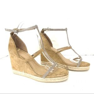 Raye by Revolve Wedges Sandals Ankle T-Strap Suede